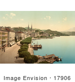#17906 Picture Of Boats And Buildings Along The Waterfront In Lucerne