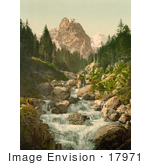 #17971 Picture Of A River And Wetterhorn Mountain Switzerland