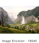 #18040 Picture Of Staubbach Waterfalls In A Scene Of Lauterbrunnen And Mountain Jungfrau Swizerland