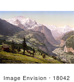 #18042 Picture Of The Village Of Wengen Over The Lauterbrunnen Valley With Staubbach Falls Bernese Oberland Switzerland