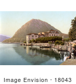 #18043 Picture Of The Village Of Lugano On The Shore Of Lake Lugano Monte San Salvatore Tessin Switzerland