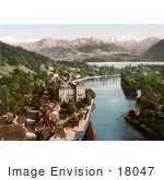 #18047 Picture Of Thunerhof In The Village Of Thun Aare River Lake Thun And Swiss Mountains Switzerland