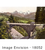 #18052 Picture Of The Bridge At Saint Beatenberg With Mountains Eiger Monch And Jungfrau Switzerland