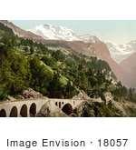 #18057 Picture Of A Railway Bridge And Tracks Near Wengern Alp Station Bernese Oberland Switzerland