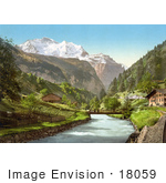 #18059 Picture Of Jungfrau And Lauterbrunnen Mountains In The Swiss Alps Bernese Oberland Switzerland