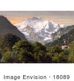 #18089 Picture Of Jungfrau Mountain Swiss Alps As Seen From Hohenweg In Bernese Oberland Switzerland
