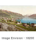#18200 Photo Of The Village Of Montreux On The Shore Of Geneva Lake In Switzerland