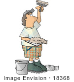 #18368 Caucasian Man Using Tools To Apply Sheetrock Mud Clipart