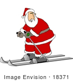 #18371 Santa Claus Skiing While Wearing His Red And White Suit Clipart