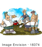#18374 Man Bossing Around His Landscaping Crew While Working On A Yard Clipart
