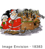 #18383 Santa And Mrs Claus Pulling The Reindeer In A Sleigh During A Strike Clipart