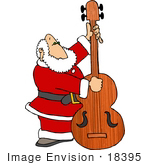 #18395 Santa Claus Playing An Upright Bass Instrument Clipart