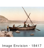 #18417 Photo Of Men In A Fishing Boat The Sea Of Galilee Lower Galilee Tiberias Holy Land Israel
