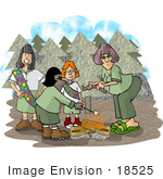 #18525 Girl Scout Troop Roasting Marshmallows On A Campfire In The Woods Clipart