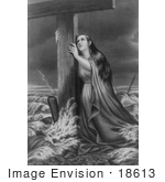 #18613 Photo Of A Woman In A Stormy Sea Clinging To A Wooden Cross