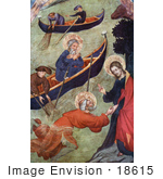 #18615 Photo Of Jesus Christ Holding Onto Apostle Peter While Walking On Water Near Boats