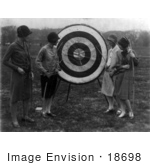 #18698 Photo Of Women Shooting Arrows At A Target In 1926
