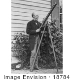 #18784 Photo Of Horatio Seymour Standing With A Telescope