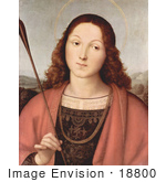 #18800 Photo Of A Painting Of St Sebastian Holding An Arrow By Raphael