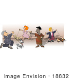 #18832 Woman Directing Owners And Their Dogs At A Dog Show Clipart