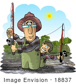 #18837 Grandfather Fishing With His Grandson Clipart