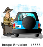 #18886 Highway Patrol Police Officer Writing A Citation Or Ticket To A Driver In A Blue Suv Clipart