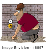#18897 Plumber Man Kneeling Showing His Butt Crack Clipart