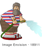 #18911 Man Watering With A Green Garden Hose Clipart