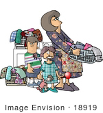 #18919 Busy House Wife Stay At Home Mom Doing Laundry With Her Two Children Clipart