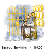 #18920 Saint Peter Writing With A Feather Quill Sitting By The Golden Gates Of Heaven Clipart
