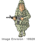 #18928 Us Army Soldier In Camo Carrying A Weapon Clipart