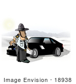 #18938 Police Man Reaching For His Gun While Standing By A Car Clipart