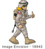#18943 Female Soldier Giving The Thumbs Up Clipart