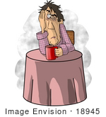 #18945 Exhausted Man At A Table Drinking Coffee Clipart