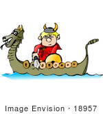 #18957 Viking Boy With A Sword Riding In A Dragon Boat Clipart