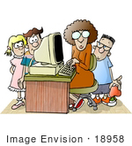 #18958 Teacher Teaching Her Students A Computer Lesson Clipart