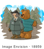 #18959 Forest Ranger Woman With A Teddy Bear Clipart