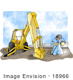 #18966 Man Kneeling And Welding By A Backhoe And Pipes At A Construction Site Clipart