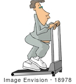 #18978 Caucasian Man Doing Cario Exercise On A Treadmill In A Gym Clipart