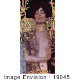 #19045 Photo Of A Nude Woman With Sheer Cloth And Gold Embellishments Judith By Gustav Klimt