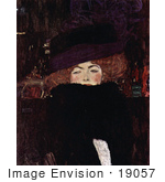#19057 Photo Of A Red Haired Woman Wearing A Hat By Gustav Klimt