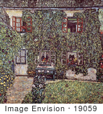 #19059 Photo Of A House Covered In Ivy Forester'S House In Waeissenbach At Attersee By Gustav Klimt