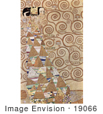 #19066 Photo Of A Woman Surrounded By Triangles And Spirals Wait By Gustav Klimt