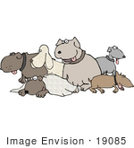#19085 Group Of Dogs At A Dog Park Clipart