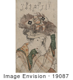 #19087 Photo Of A Japanese Woman Carrying A Bundle Of Sticks On Her Head With A Tie That Resembles A Man
