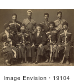 #19104 Photo Of A Group Of Circassian Military Men Posing In Uniforms