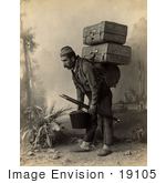 #19105 Photo Of A Turkish Porter Man Carrying Luggage On His Back In Turkey