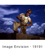 #19191 Photo Of A Male Carpenter In A Hardhat Working On The Douglas Dam 1942