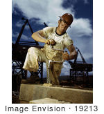 #19213 Photo Of A Male Carpenter Working On The Douglas Dam In 1942