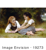 #19273 Photo Of Two Girls Sitting In Grass The Nut Gatherers By William-Adolphe Bouguereau